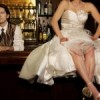 Satin Origami Strapless Ruched Wedding Gown