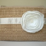 Tan Woven Clutch with Handmade White Satin Flower for Beach Wedding