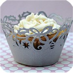 Cupcake wrap silver lace holiday