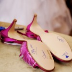 Signing Bride's Pink Shoes; Wedding Shoes