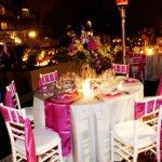 Pink and Silver Wedding Table; Fuschia and Silver Wedding Decor