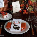 orange wedding table decor