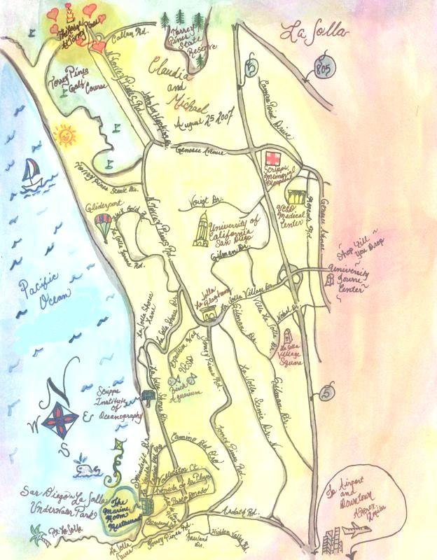Custom Handpainted Wedding Map La Jolla San Diego