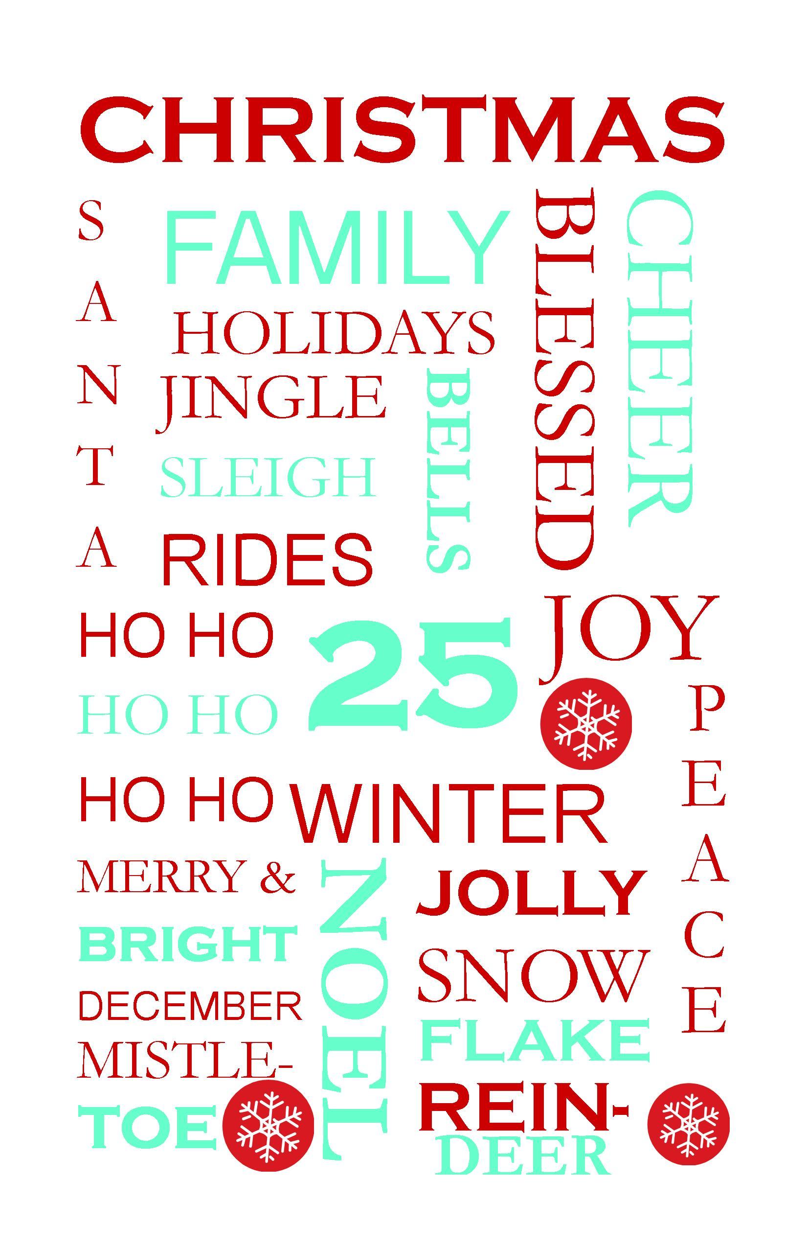 Christmas Subway Art Free Printable.Christmas Subway Art