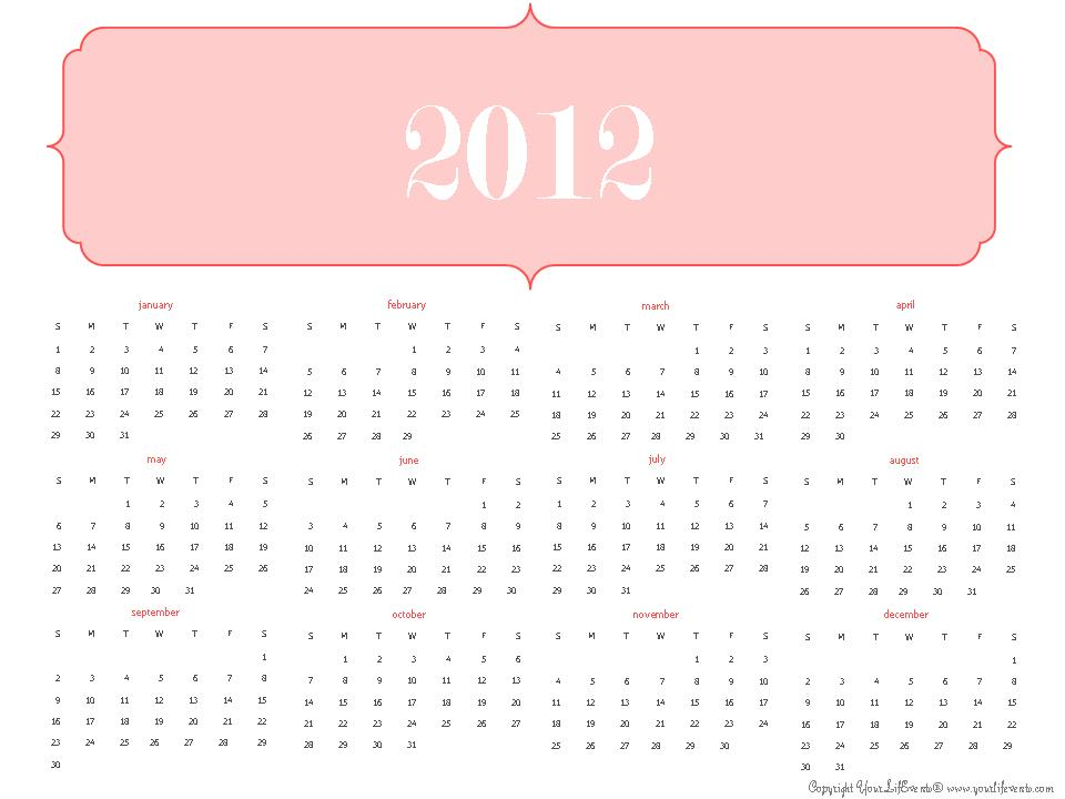 Your Life Events 2012 calendar